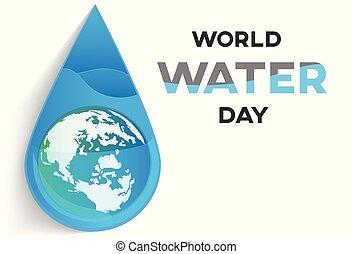 eau, mondiale, vecteur, jour, fond