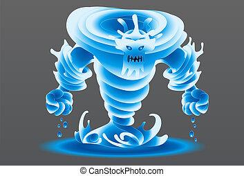 eau, monstre, illustration