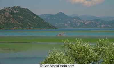 eau, montagnes, expansif, bleu-vert