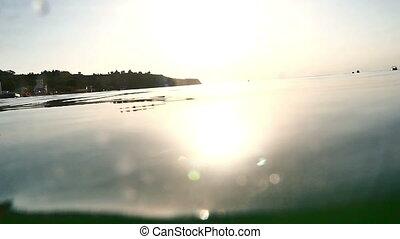 eau, mouvement, lent, coucher soleil
