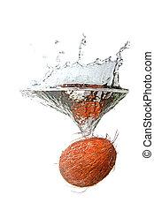 eau, noix coco, éclaboussure, isolé, blanc