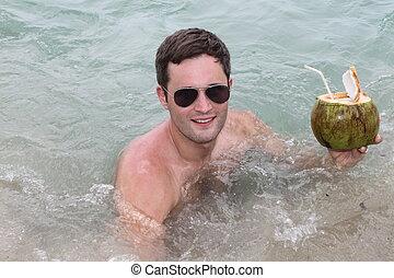 eau, noix coco, boire, jeune homme