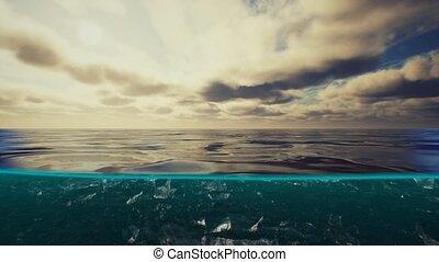 eau, nuages, antilles, sous, vue mer, sur, fente