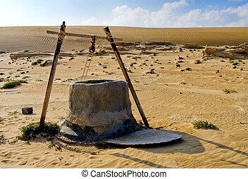 eau, oman, puits, désert