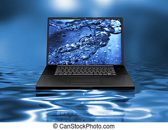 eau, ordinateur portable