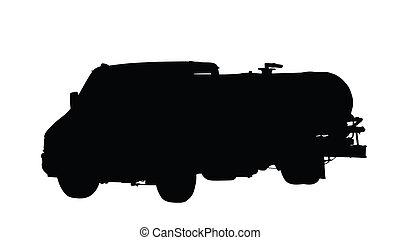 eau, ou, camion, isolé, carburant, silhouette