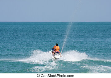 eau, ou, ski, océan, jet, thaïlande, scooter