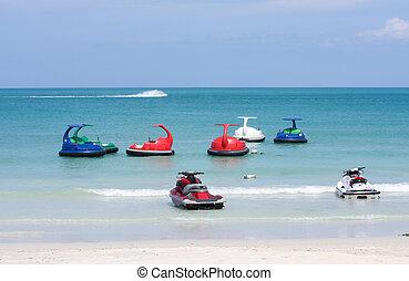 eau, ou, ski, thalland, océan, jet, scooter