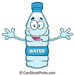eau, ouvrir bras, bouteille, plastique