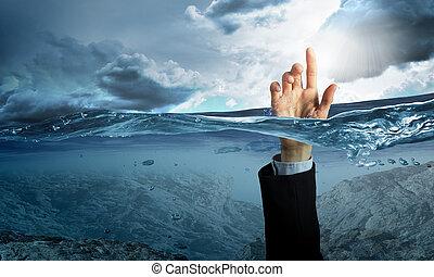 eau, personne, noyade, main