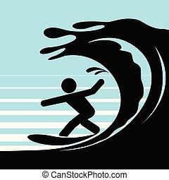 eau, personne, surfing., pictogramme