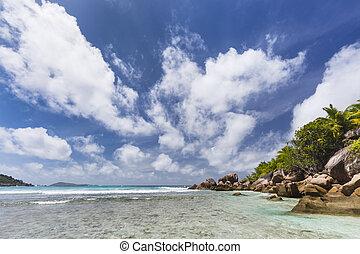 eau, peu profond, seychelles, digue, la