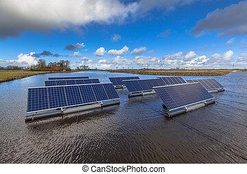 eau, photovoltaïque, panneaux, groupe, flotter
