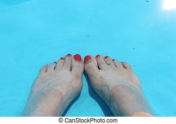 eau, pieds, piscine, fond, natation