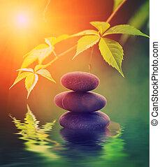 eau, pierre, rendu, reflété, tour