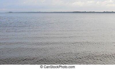 eau, pierre, sauter, vagues, surface, petit