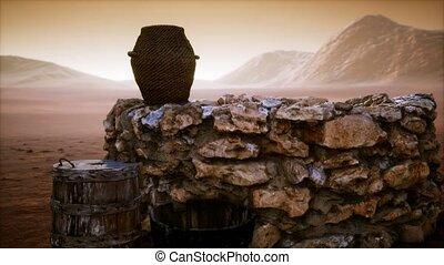 eau, pierre, vieux, puits, désert