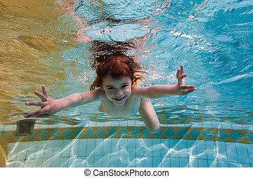 eau, piscine, sous, girl, sourires, natation