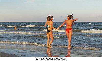 eau, plage, femelles, jouer, danse