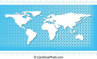 eau, planisphère, vagues