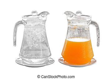 eau, plaque, orange, cruche, jus