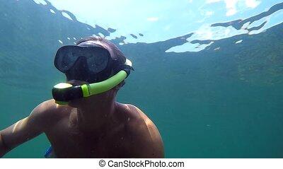 eau, plongée, homme, masque, sous