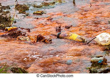 eau, pollué, écoulement