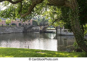 eau, pont, jardin