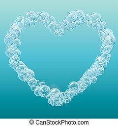 eau, réaliste, bulles, fond