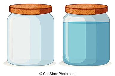 eau, récipients, deux, withou