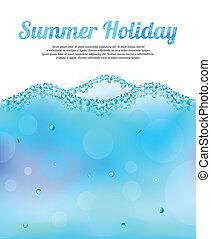eau, résumé, vecteur, bulles, vague