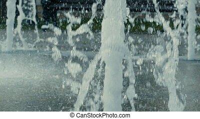 eau, ralenti, vidéo, jets, closeup