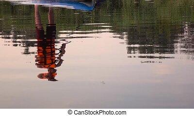 eau, rangées, reflet, gonflable, mouvement, lent, type, raft.