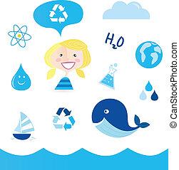 eau, recycler, icônes
