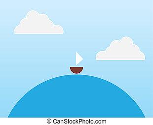 eau, rond, voilier