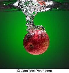 eau, rouges, irrigation, pomme