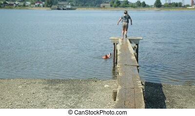 eau, sauter, enfants