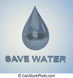 eau, sauver, concept