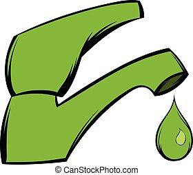 eau, sauver, dessin animé, icône