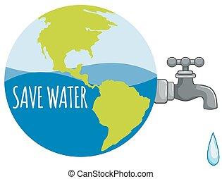 eau, sauver, robinet, signe