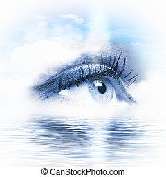 eau, scénique, oeil, négligence