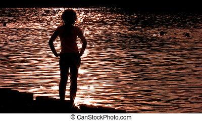 eau, seul, femme, silhouette