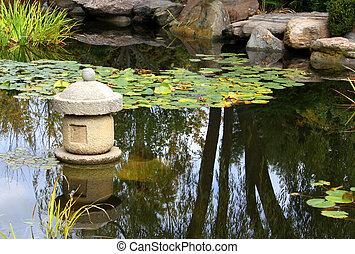 eau, shin, basé, -, jardin, s'ensui, japonaise, water-viewing