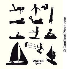 eau, silhouette, sports