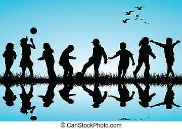 eau, silhouettes, jouer, enfants