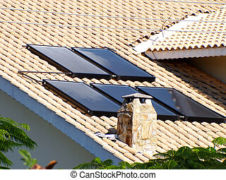 eau, solaire, chauffage, toit, panneau