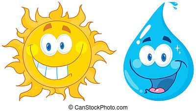 eau, soleil, dessin animé, caractères