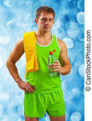 eau, sportif, bouteille