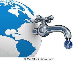 eau, stocks, sur, les, earth., 3d, image.