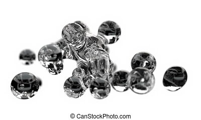 eau, structure, bulles, moléculaire, ébullition